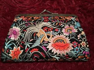 Fine Vintage Chinese Cantonese Embroidered Silk Purse Pouch Shawl Embroidery