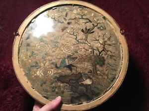 Antique 19th Qi Ing Chinese Canton Embroidered Silk Fan Panel Framed Embroidery