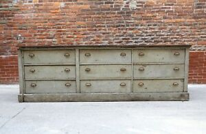 Antique Store Counter 9 Drawer Wooden Dresser Kitchen Island Apothecary Cabinet