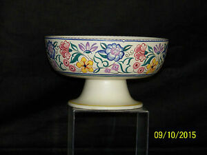 Poole Studio Art Pottery Centerpiece Handpainted Fruit Bowl W Pedestal Shape464