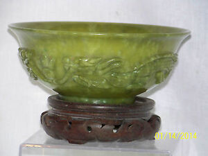 Chinese Hand Carved Hetian Jade Large Bowl W Custom Made Box