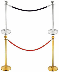 Stanchion Set post rope Velvet Velour Vip Crowd Control Queue Line Barrier 12004