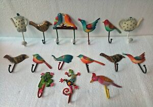 Indian Decorative Old Iron Figurine Wall Hook Cloth Key Hanger Art Lot Of 15