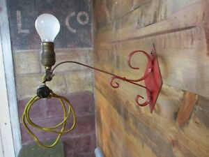 Primitive Antique Red Wrought Iron Wall Sconce Light Reading Lamp Vintage Chic