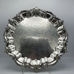 Large Vintage Ornate Silverplate Serving Tray With Hallmark Round 14 5