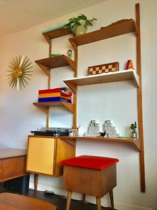 Mid Century Modern Wall Unit And Desk Modular Floating Shelving System