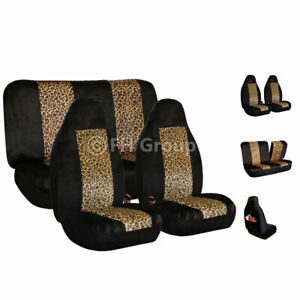 2 Tone Brown Leopard Velour Top Quality Seat Cover For Car Truck Suv