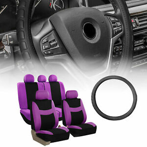 Seat Covers Combo For Auto With Purple Seat With Leather Steering Wheel Cover