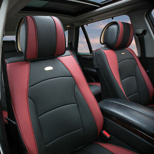 Pu Leather Seat Cushion Cover Front Bucket For Auto Car Suv Van Burgundy Black