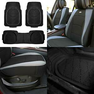 Leather Seat Cushion Bucket Covers Pair Gray W Black Floor Mats For Auto