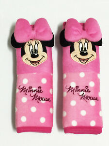 Minnie Mouse Disney 2 Pieces Car Suv Van Seat Belt Shoulder Pads Covers Pink 166