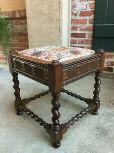 Antique English Carved Oak Barley Twist Square Joint Stool Bench Needlework