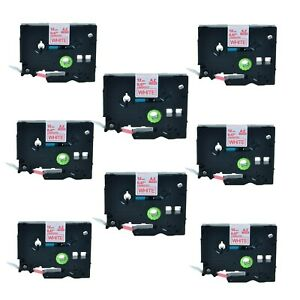 Us Stock 8pk Tz 232 Tze 232 Red On White Label Tape For Brother P touch 1 2