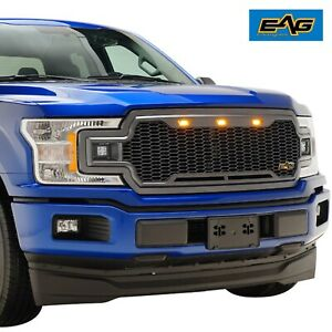 Eag 2018 2019 Ford F150 Front Led Grill Full Packaged Black Upper Grille