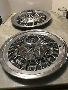 Pair Of 1970 S Ford Thunderbird T Bird Classic Wire Wheel Covers Hub Cap Centers