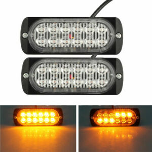 Amber 12 Led Car Truck Emergency Beacon Warning Hazard Flash Strobe Light Bar