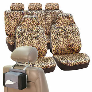 Car Seat Covers Brown Leopard Velour With Free Gift Tissue Dispenser