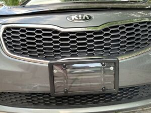 Unbreakable Clear License Plate Shield Black Frame 4 Screw Caps For Vehicles