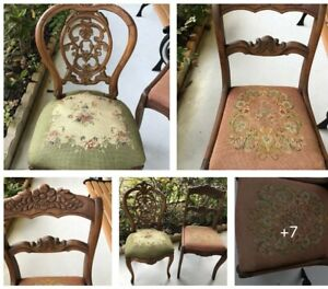 2 Antique Victorian Needlepoint Carved Wood Chairs His And Hers