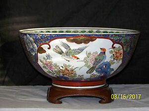 Chinese Famille Rose Hand Painted Porcelain Large Punch Bowl