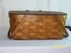 Antique C1930 1940 S Hand Woven Large Basket W Hinged Lid Handles