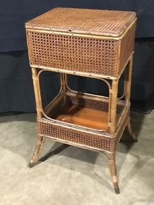 Excellent Antique Heywood Wakefield Cane Wicker Sewing Basket Stand