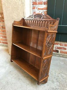 Antique English Carved Oak Wall Shelf Bookcase Display Cabinet Dated 1904