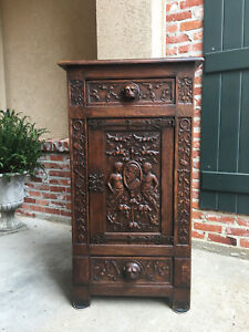 Tall Antique Spanish Carved Oak Renaissance Gothic Cabinet Lion Soldier A