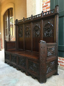 Large Antique French Carved Dark Oak Entry Hall Bench Gothic Chapel Pew Settle