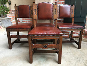 Set Of 4 Antique English Carved Oak Gothic Dining Chairs Leather Brass Celtic