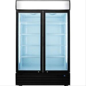 2 Glass Door Refrigerator Double Door Beverage Cooler Drink New