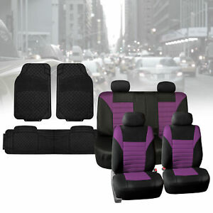 Car Seat Covers For Sedan Suv Air Mesh Fabric Purple Black With Black Floor Mats