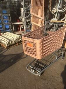Plastic Shopping Carts Tan Medium Large Basket Used Store Fixtures Customer Cart