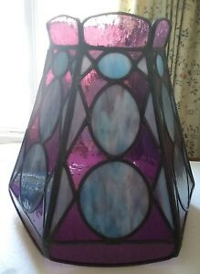 Vintage Pearlized Blue Purple Hexagon Leaded Stained Glass Floor Lamp Shade