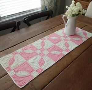 Easter Perfect Vintage 30s Pink And White Table Quilt Runner 36x12
