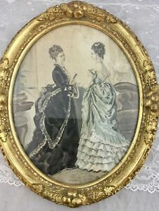Antique Print 2 Victorian Ladies Parlor Ornate Oval Gold Painted Wood Frame 1