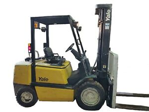 Yale Gtp60 Forklift 3 Stage Mast 6 000 Lb Capacity Side Shift Gasoline lp