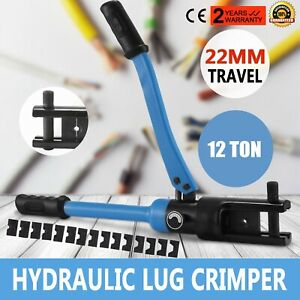 12 Ton Hydraulic Wire Terminal Crimper W 10 Dies Set Cable Cutter 22mm Newest