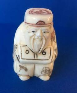 Netsuke Bovine Bone Hand Carved Sitting Man With Box Well Decorated Uk Seller