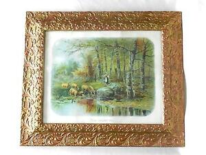 Large Antique Ornate Gold Gesso Frame Glass W 16 X 20 Sheep Print