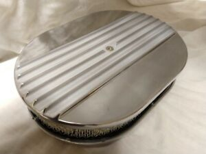 12 Polished Aluminum Nostalgia Half Finned Oval Air Cleaner Street Rod Filter
