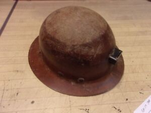Vintage Brown Msa Skullgard Miners Safety Helmet Hard Hat Lantern Bracket