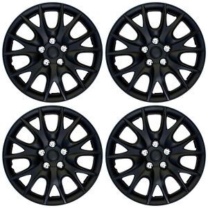 4 Pc Set Hub Cap Abs Black Matte 14 Inch For Oem Steel Wheel Cover Caps Covers