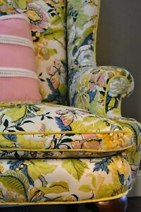 Vtg Henredon Wing Chair Quilted Floral Chartreuse Quilted Beautiful