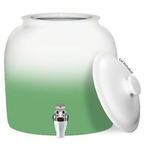 2 To 5 Gallon White Top Green Bottom Water Dispenser With Lid Ceramic Crock