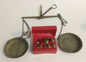 Ohaus Set Of 8 Brass Weights 1 50 Grams W Box And Antique Hanging Balance Scale
