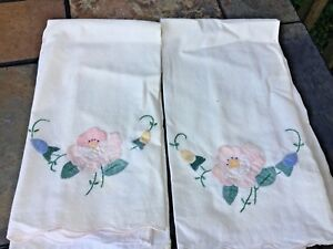 Vintage Hand Embroidery Tea Towels Rose Morning Glory Set Of 2 Unique J8
