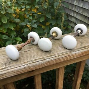 Vintage Original Lot 3 White Porcelain Door Knob Sets With Shafts