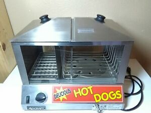 Adcraft Hds 1200w Countertop Hot Dog Steamer Bun Warmer Cooker Merch Display