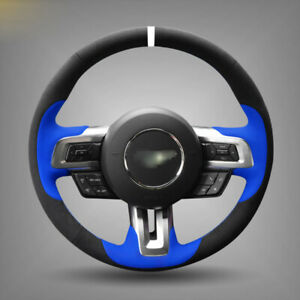 For Ford Mustang Car Steering Wheel Cover Black Blue Hand stitched Suede Leather